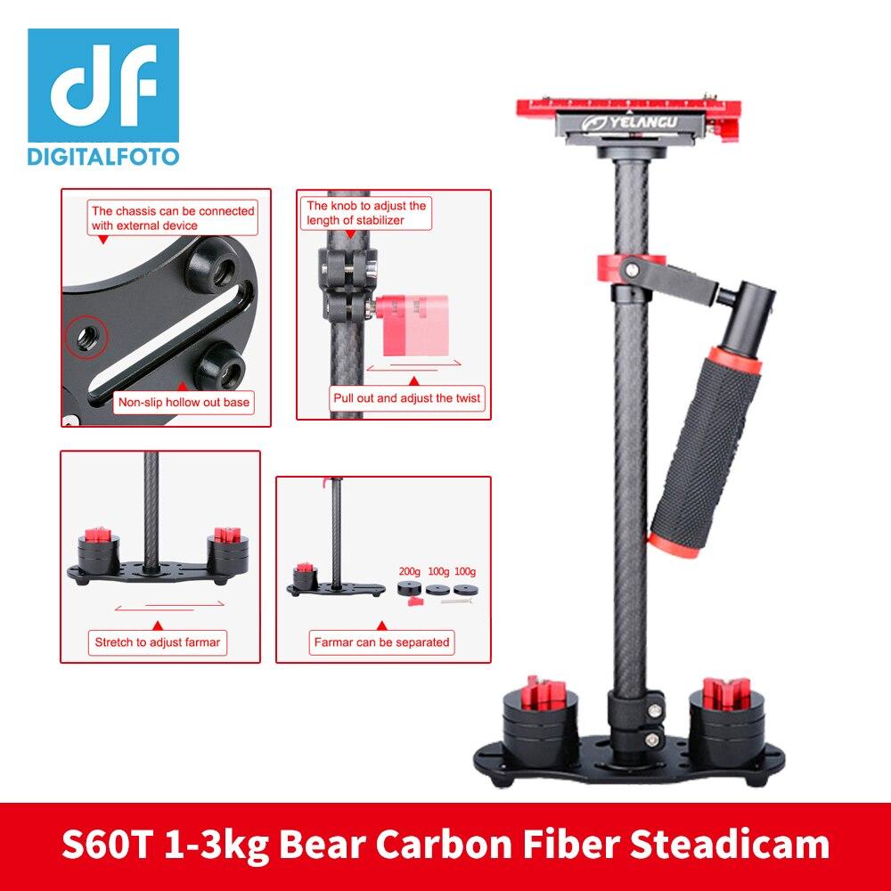 Stabilisateur de caméra en fibre de carbone DIGITALFOTO 1-3 KG DSLR portable steadicam S60T caméscope fixe caméra Glidecam
