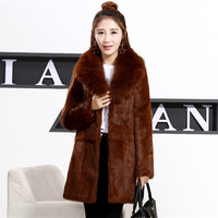 Plus Size S 8XL Whole Skin Natural Rabbit Fur Jackets Women Real Fur Coats Outerwear Fur Overcoat With Real Fox Fur Collar