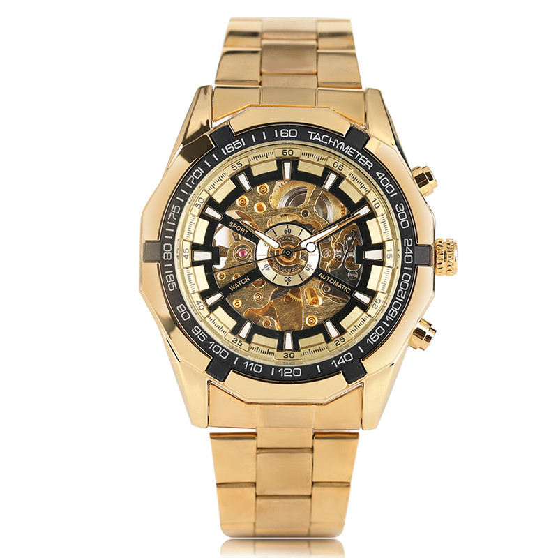 FORSINING Skeleton Men Mechanical Wristwatch Stainless Steel Clasp Automatic Self-Wind Unique Dial Business Cool Malw Watch Gift k colouring women ladies automatic self wind watch hollow skeleton mechanical wristwatch for gift box