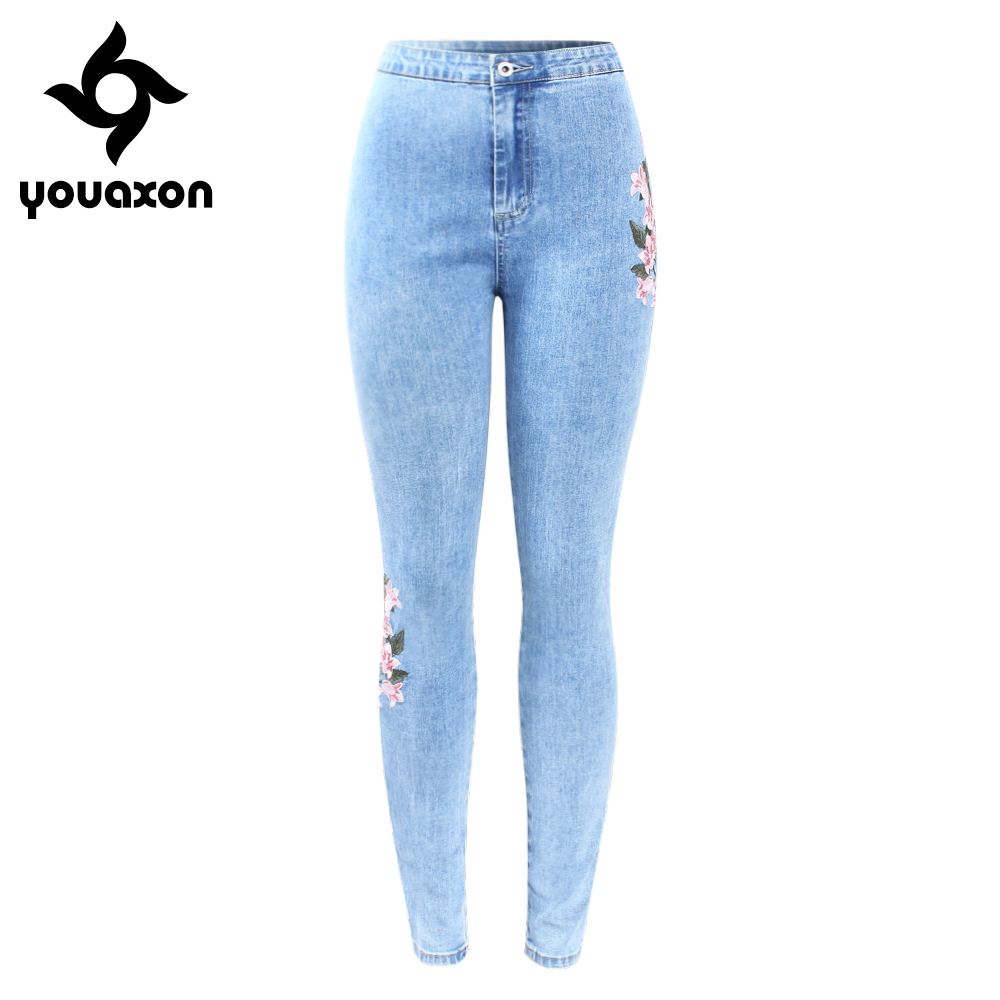 2157 Youaxon New Arrived High Waist Embroidery Jeans Woman Big Size  Stretchy Flower Denim Skinny Pencil