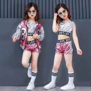 Image 3 - Одежда для девочек в стиле хип хоп с блестками, детские пальто, топы, рубашка, короткий костюм для джазовых танцев, одежда для бальных танцев, уличная одежда для детей