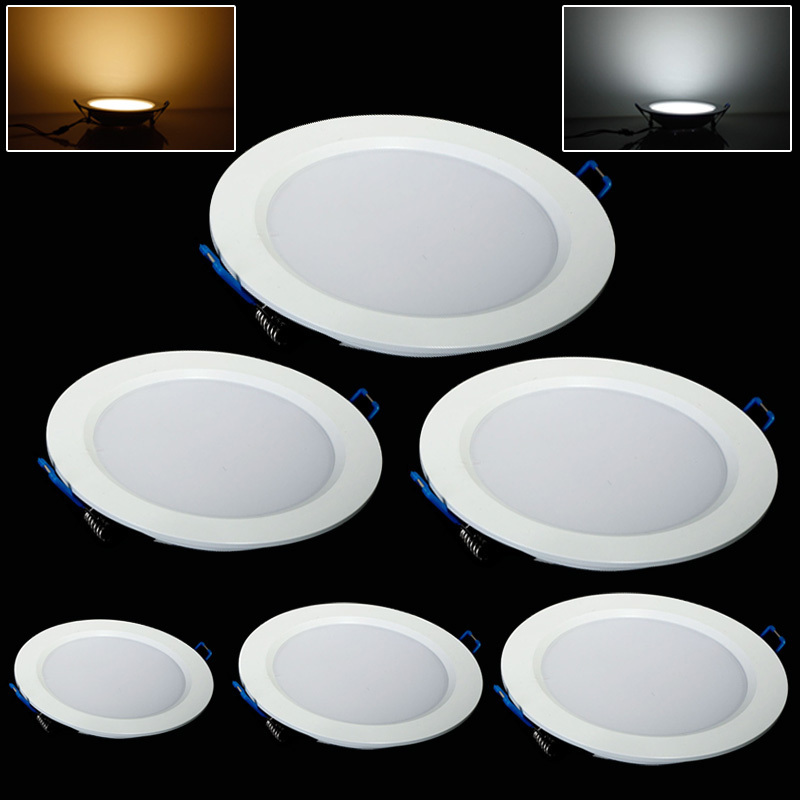 1 шт. Ультра-яркий 3 Вт 6 Вт 9 Вт 12 Вт 15 Вт 25 Вт потолочные встраиваемые светодиодные светильники круглый Панель свет 1800lm dimmable Панель свет лампы
