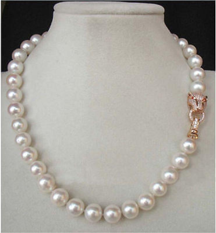 10-11mm White Huge Freshwater Cultured Pearl Necklace 25 Inch