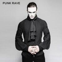PUNK RAVE Men Steampunk Shirt Formal Party Gentleman Blosue Gothic Black Long Sleeve Top Shirt Punk Men Military Shirts