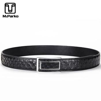McParko Genuine Leather Python Belt Men Luxury Brand Snake skin Belt For Suit pants Formal Snakeskin Punk Men Belt waist Strapes
