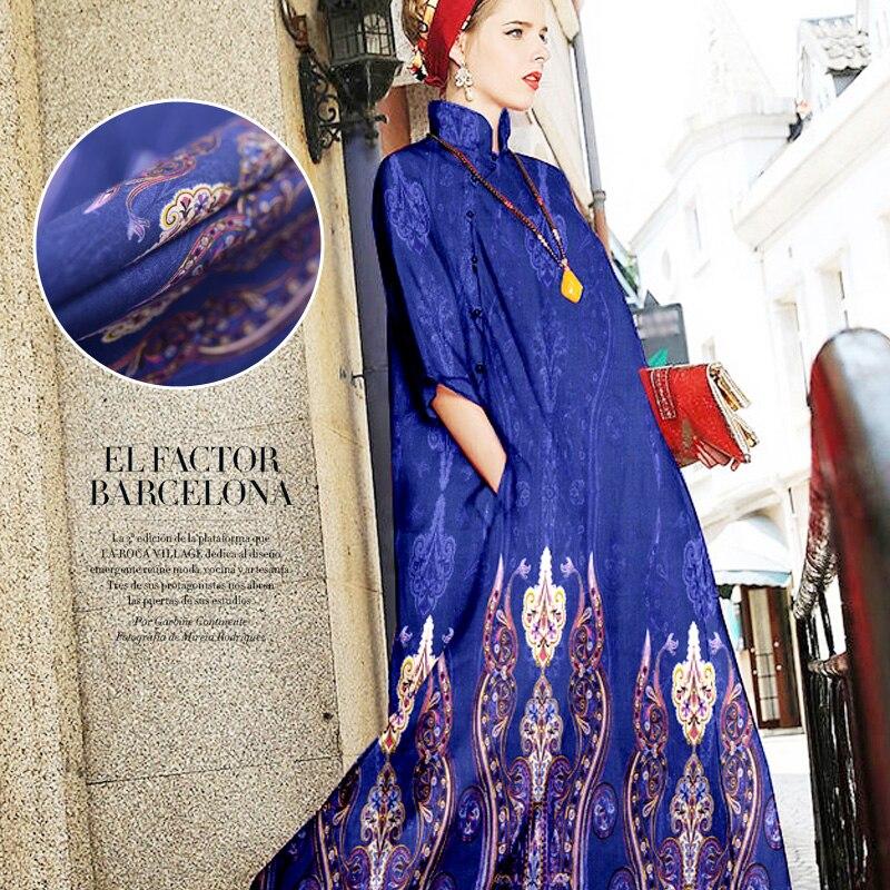 Blue heavy silk linen fabric inkjet silk hemp fabric silk fabric silk 35 momme