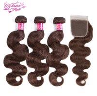 Queen Love Hair Pre Colored Brazilian Body Wave Closure Non Remy Hair Weave 3 Bundles Human