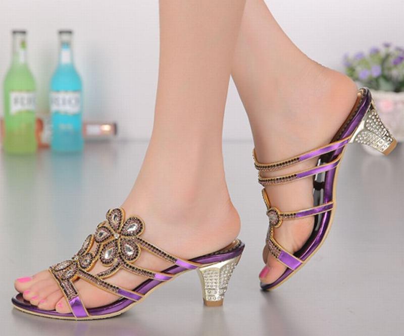 Новая мода рим гладиатор толстые на высоком каблуке тапочки цветы горный хрусталь кристалл каблуки сексуальные открытым носком тапочки партийные свадебные туфли - 2