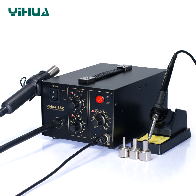 YIHUA 852 Diaphragm Pump Rework Soldering Station 220V Hot Air With Soldering Iron Station Repair Tool