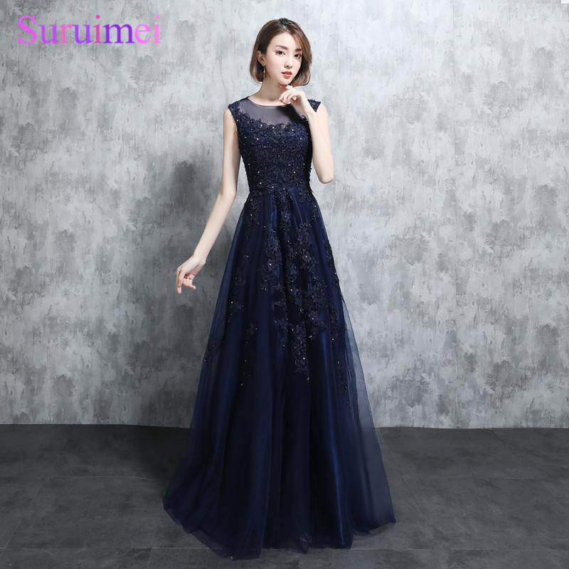 Real Photo Vintage Navy Blue Evening Gown Cap Sleeves High Quality Tulle Fashion Lace Applique Vestidos Long Evening Dresses