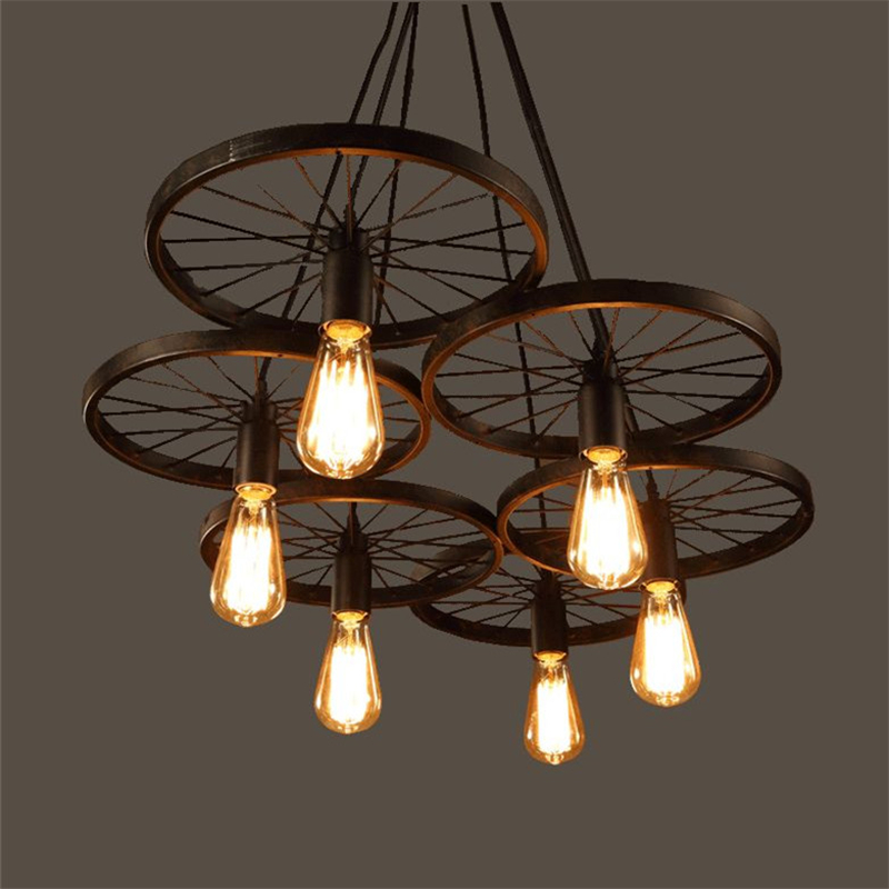 Buy wrought iron wheel pendant light Industrial style chandeliers