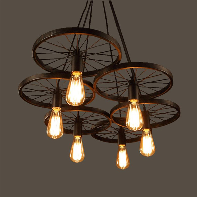 wrought iron wheel pendant light vintage industrial lighting loft lamp bar american country. Black Bedroom Furniture Sets. Home Design Ideas