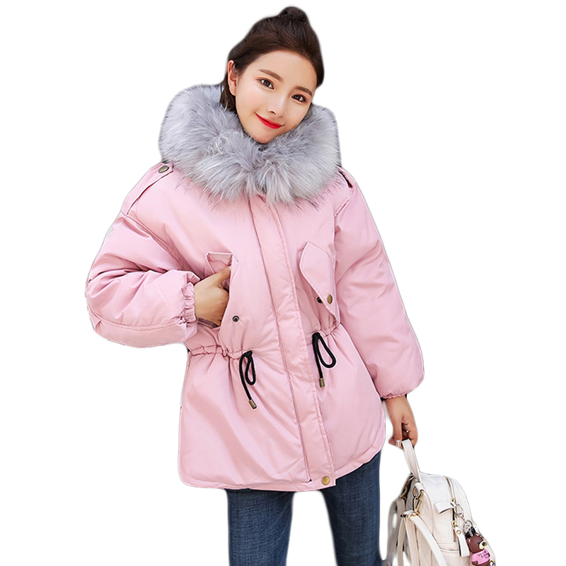 2017 New Pink Long Winter Jacket Coats Women Parkas Super Large Fur Hooded Coat Thick Warm Down Cotton Padded Slim Parkas CM1846 jolintsai winter jacket women mid long hooded parkas mujer thick cotton padded coats casual slim winter coat women