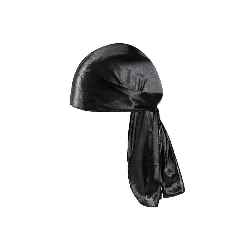 Kid Pirate Headscarf Long Tail Bandanas Hat Elastic Pure Color Headwrap Cap