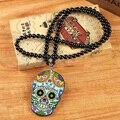 De moda de Lujo Cráneo Estilo México Hombres Colgante, Collar de Perlas con Cadena Larga Collares Colgantes Joyería Traje de Las Mujeres Al Por Mayor