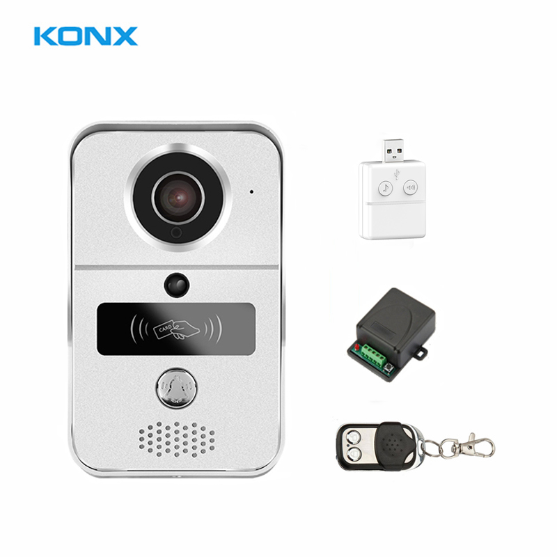 KONX Smart Home 720 WiFi IP Video Door phone intercom Doorbell Wireless Unlock Peephole Camera Doorbell Viewer 220V IOS Android 2016 new wifi doorbell video door phone support 3g 4g ios android for ipad smart phone tablet control wireless door intercom