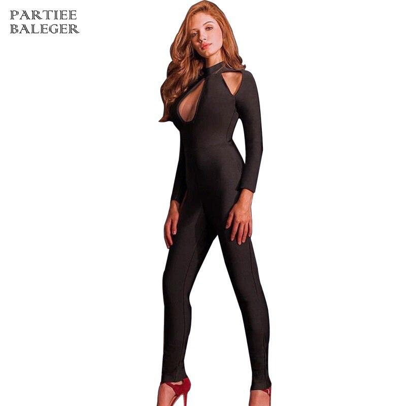Manches 2019 Piste Out De Creux Bandage Sexy Celebrity Longues Noir Nouvelles Moulante Slim Strap Combinaisons Femmes Mode Salopette 0rSqx04