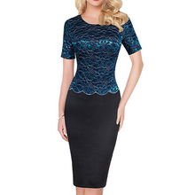 OL women Glitter font b Dress b font false two piece with Lace embroidered Office ladies