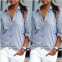 Autumn spring clothing Women blue & white striped blouse long sleeve turn down collar shirts pocket tops free shipping
