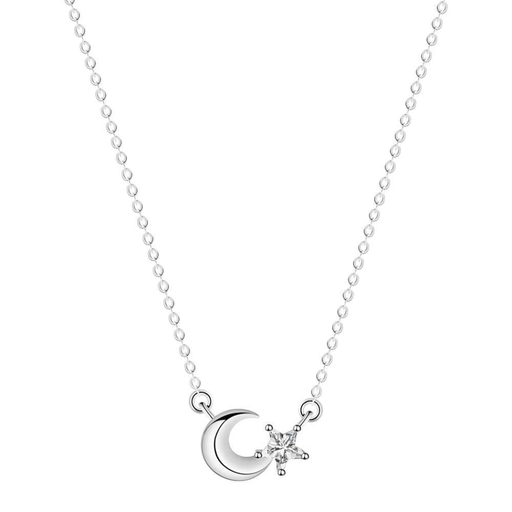 CHENGXUN موضة القمر ستار قلادة صغيرة الزركون الكون مجوهرات اكسسوارات القلائد الكورية صديقة الزفاف هدية