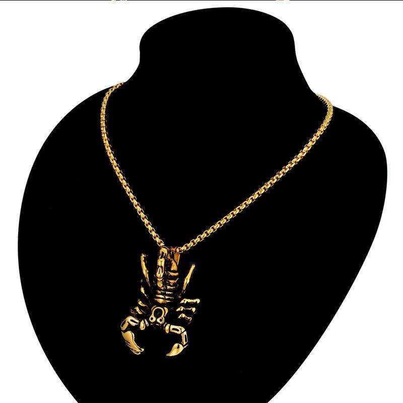 Gold Color Scorpion Pendant Necklace Vintage 3mm Stainless Steel Box Chain 4Size Necklace Men Jewelry MNXL842 in Pendant Necklaces from Jewelry Accessories