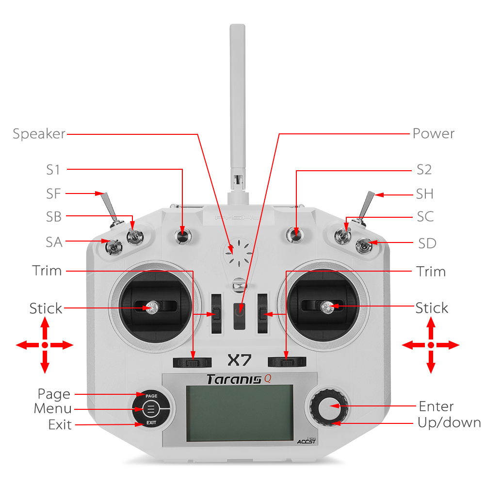 US $105 44 5% OFF FrSky ACCST Taranis Q X7 QX7 2 4GHz 16CH Transmitter  Without Receiver and battery Mode 2 For RC Multicopter-in Parts &  Accessories