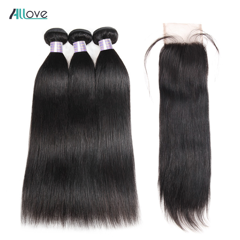 Allove Human Hair Weave with Closure Brazilian Straight Hair Bundles With Closure 4x4 Free Part Closure