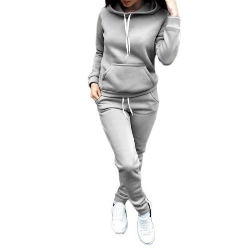 Women Casual Winter Autumn Tie Suit 2pcs Set Women Tracksuits Fleece Rope Fashion Hooded Tracksuit