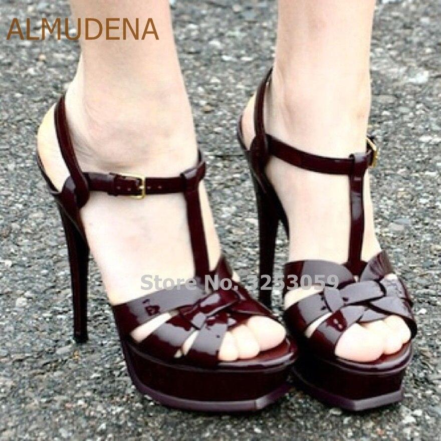 Almudena Graceful Stiletto Heels Sandals Cross Strappy Platform T