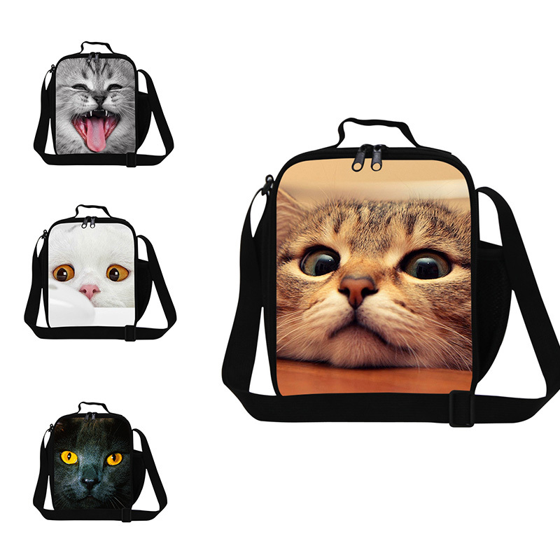 Cute cat 3D printing children lunch bags small lunch box bag for kids lunch cooler bags for boys animal lunch container school