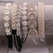 Metting Joura Свадебные белые бусы ручной работы повязка на голову стразы цветок лента для волос аксессуары для волос