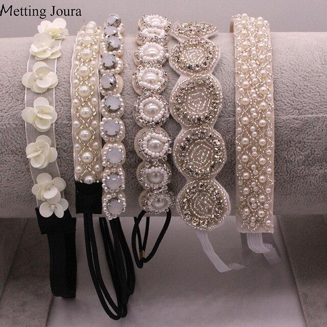 Metting Joura Contas Feitas À Mão Headband Nupcial Do Casamento Branco Flor de Strass Cabelo Banda Acessório