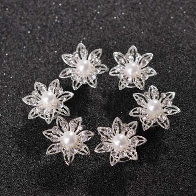 AOMU graduación cristal perla flor horquillas espiral Twist Girl copo de nieve Clip nupcial boda accesorios Tiara pelo joyería