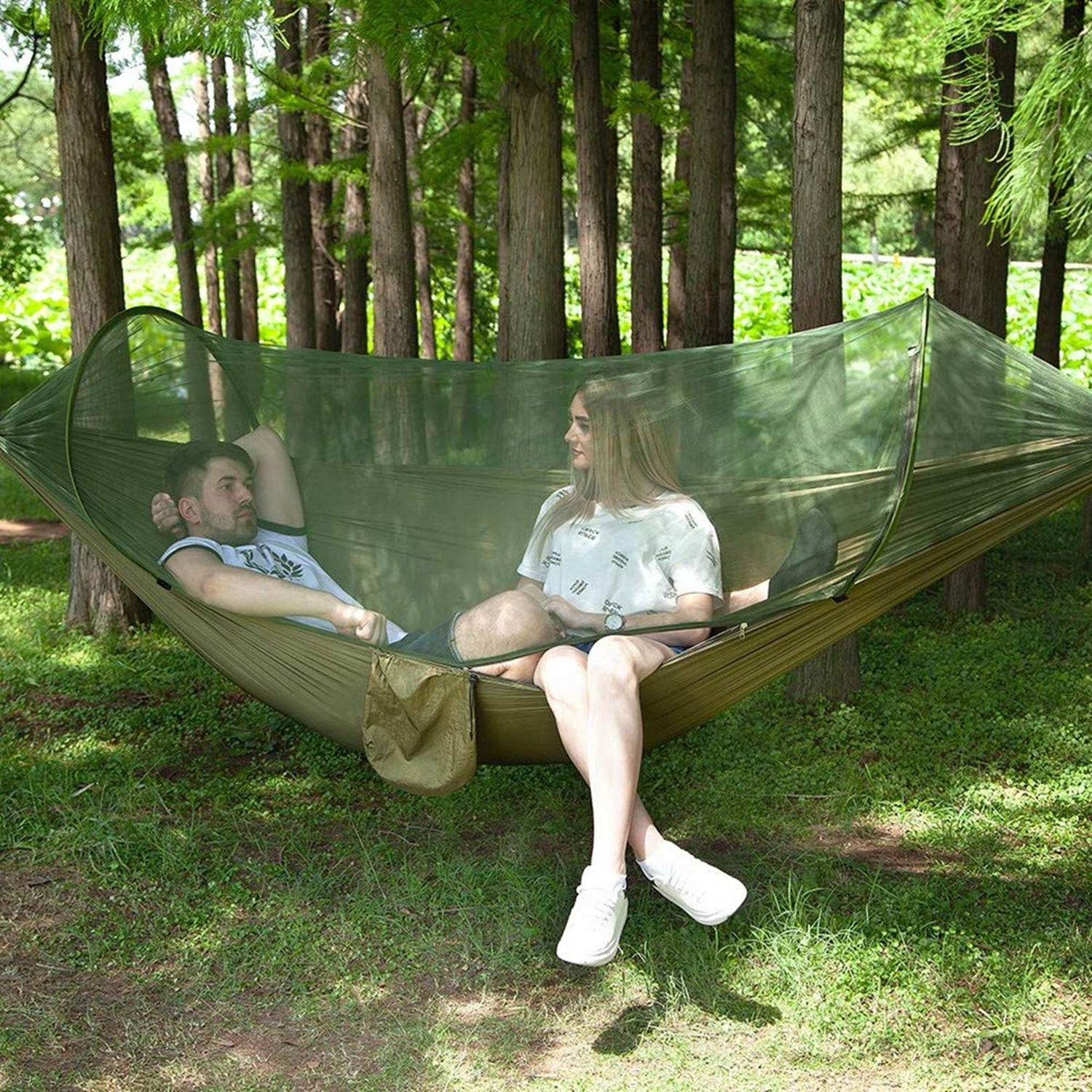 YOOAP double camping hammock with mosquito net insect net light and durable travel hammock portable quick drying in Hammocks from Furniture