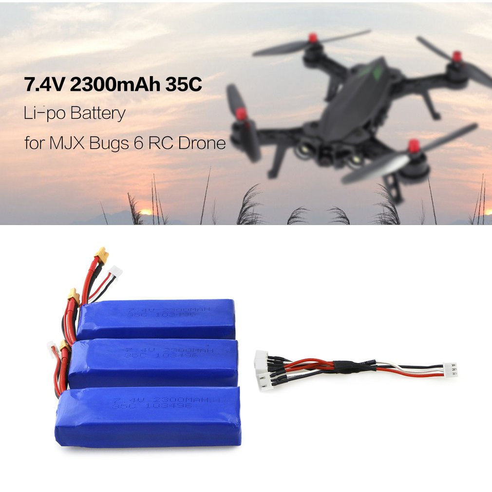 3Pcs Lipo Battery 7.4V 2300mAh 2S 35C Li-po Rechargeable Battery with XT30 Plug LipoCharger for MJX Bugs 6 B6 RC Drone Quadcopte mjx x800 lipo battery 3 7v 750mah jst plug batteries 6pcs with usb charger and cable for mjx x400 x300c rc drone parts