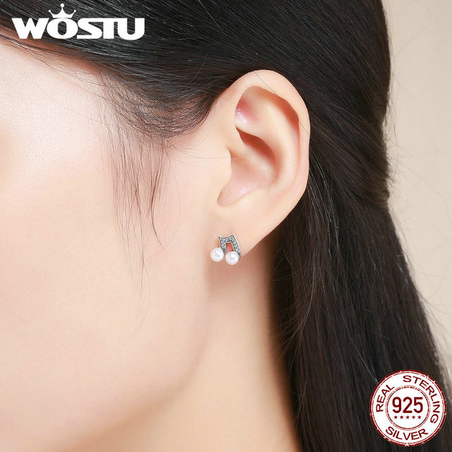 Wostu 100 925 Sterling Silver Hiphop Style Melody Small Stud Earrings For Women Clear Cz