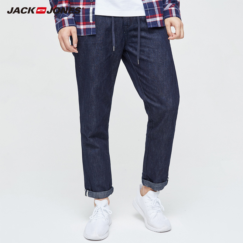 Jack & Jones  2019 NEW Denim Slim Plaid Medium Pants Ankle-length Jeans Men Punk Style Fashion Jeans| 217132553