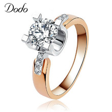 hot deal buy romantic women rings bague punk  rose gold plated  cz diamond jewelry  for wedding  engagement  couple anillos  rings  18kr015