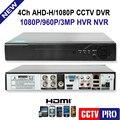 Chegada de novo! 4CH 1080 P AHD DVR Para 1080 P/720 P Analógico/HD AHD Câmera de CCTV 2MP AHD-H Vigilância Gravador de vídeo DVR CCTV
