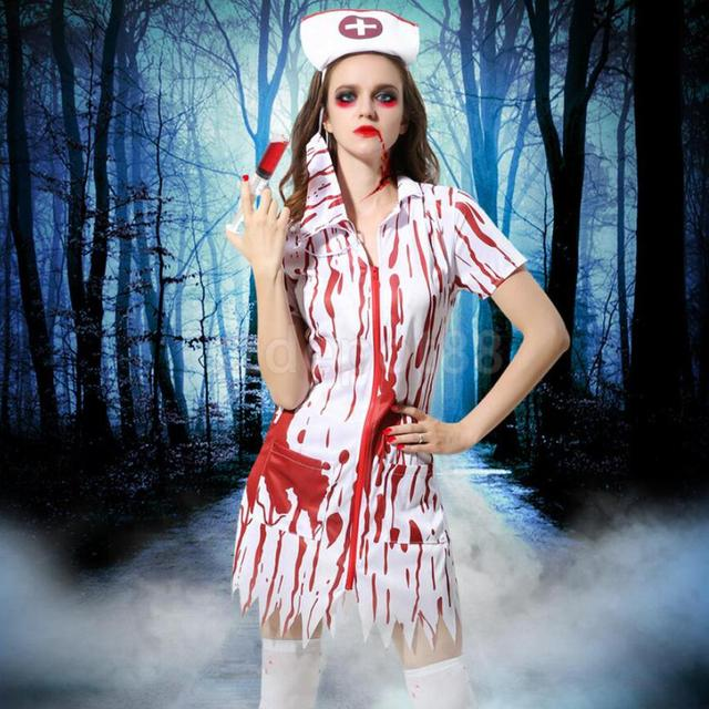 5bcc2fb9abd US $22.22 20% OFF|Halloween Bloody Nurse Costume Horror Zombie Dress Cap  Mask Nurse Uniform Dress Adult Ladies Fancy Dress Up-in Holidays Costumes  ...