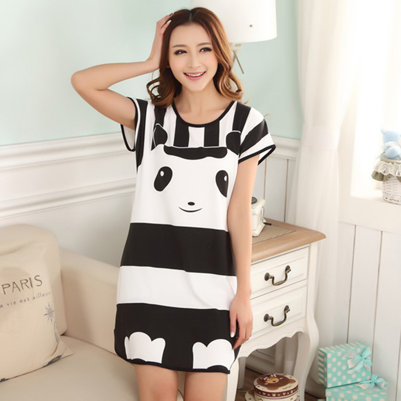 Cute girl Women sleep dress Casual Cartoon Nightwear Sleepwear Set Short Sleeve Dress