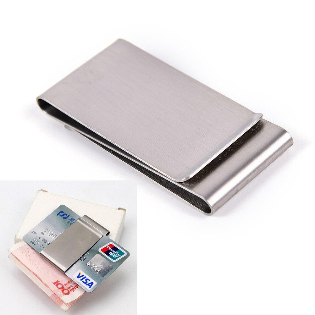 1 Stks Nieuwe Clamp Silver Rvs Slim Dubbelzijdig Mannen Vrouwen Geld Clip Portemonnee Metalen Credit Card Geld Houder Stalen Clip