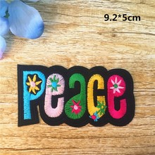 Iron-On Letters Peace Patch 10pcs Colorful Sticker PEACE Embroidered Cartoon Badge Patches Garment Appliques clothing Accessory