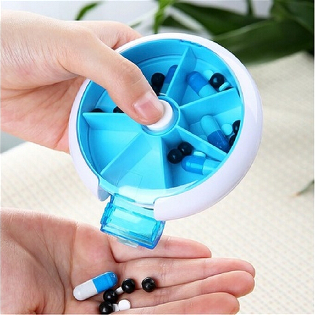 Portable 7-Day Rotating Pill Case Medicine Box Pill Dispenser Outdoor Travel Vitamin Pill Holder