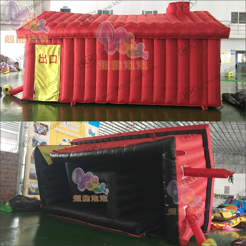 Safe PVC/Nylon Oxford inflatable tent house fire fighting drill escape house tent