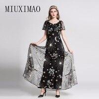 2018 Summer New Arrival Fashion O Neck Short Sleeve Ruffles EmbroideryA Line Elegant Print Ankle Length Long Dress Women