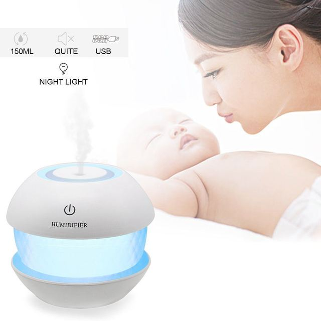150ml Ultrasonic  Mist Diffuser Small Air Humidifiers USB Charge /Touch Switch /Whisper-quiet /7 Color Night Light Home Car Baby 4