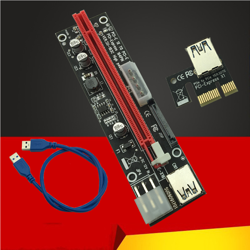60CM PCI Express 1X To 16X PCIE Riser Card For BTC Miner Machine Overcurrent Protection USB Cable SATA To 6Pin Power Cord Mining