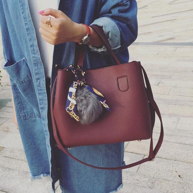 Litchi Pattern Leather Women Casual Handbag 1