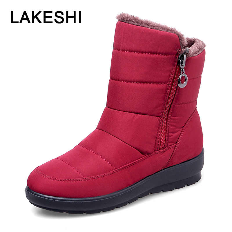 2019 Vrouwen Laarzen Warme Winter Laarzen Effen Moeder Schoenen Waterdichte Snowboots Antislip Enkellaarsjes Zip Vrouwen Schoenen Plus Size 41 42
